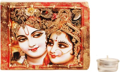 Artistique Radha Krishna Block (2 Tea Lights) Candle (Multicolor, Pack Of 1)