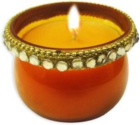 The Bombay Store Glass Jar - Golden Candle (Gold, Pack Of 1)