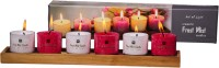 DECO Aro Aromatic Pearl Cube Candle (Red, White, Pack Of 6)