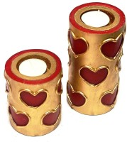 Tvish Candles Valentine Gift Set -Set Of Two Red And Gold Hearts With Tealight Candle (Red, Pack Of 2)