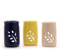 Aromatree Oil Lamp / Burner (A Set Of 3 Pcs) Small Candle (Black, Blue, White, Yellow, Pack Of 3)