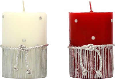 Tvish Candles Decorative Starry Nights Candle (Red, White, Pack Of 2)