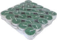 Kriti Creations Set Of 50 Perfumed Tea-Lights Candle (Green, Pack Of 50)