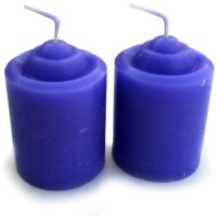 Smartkshop Lavender Scented Pillar Set Of 2 Candle (Blue, Pack Of 2)
