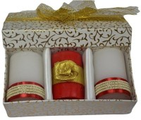 Tvish Candles Valentine Gift Set -Pearl Border 2x3 Box Set Candle (White, Red, Pack Of 3)
