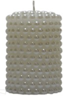 Candangel Beaded White Piller Candle (White, Pack Of 1)