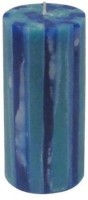 GGI Multi Layered Strips Pillar Candle (Blue, Pack Of 1)