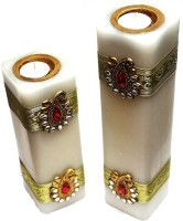 Tvish Candles Set Of Two Banarasi With Tealight Candle (White, Pack Of 2)