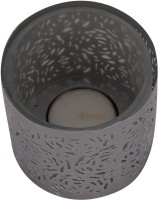 A33 Store Silver Decorated Glass Candle (Silver, Pack Of 1)
