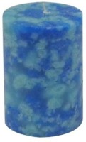 GGI Marble Pillar Candle (Blue, Pack Of 1)
