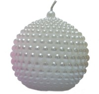 Candangel Beaded White Ball Candle (White, Pack Of 1)
