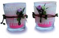 Smartkshop Designer Spotted Cup Scented Set Of 2 Candle (Pink, Pack Of 2)