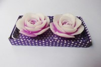 Zanky White & Purple Rose Shaped Candle (Purple, Pack Of 2)