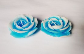 Zanky Rose Shaped Candle (Blue, Pack Of 2)