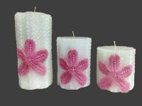 THE CANDLE DUX WHITE DESIGNER COMBO OF 3 Candle (Multicolor, Pack Of 3)