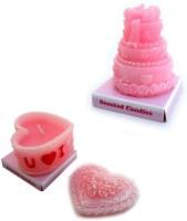 Smartkshop Perfumed Heart Shape I Love U And Perfumed Cake Shape Combo Candle (Multicolor, Pack Of 2)