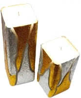 Tvish Candles Set Of Two Flame Of The Forest Square Candle (White, Pack Of 2)