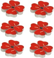 Divine Miracles Heart Shaped Red Tea Light Candle (Red, Pack Of 24)