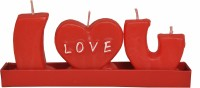 Indigo Creatives I Love You Alphabet Passion Red Candle (Red, Pack Of 3)