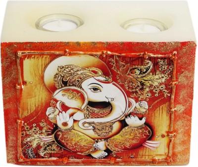 Artistique Ganpati Block (2 Tea Lights) Candle (Multicolor, Pack Of 1)