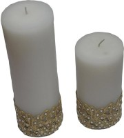 Tvish Candles Set Of Two Gold Border Candle (White, Pack Of 2)