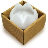 Gifts By Meeta Decorative Lotus Candle (White, Pack Of 1)