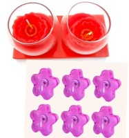 Smartkshop Gifts Scented In A Rose Set Of 2 And Flower Perfumed Set Of 6 Floating Gel Candle (Multicolor, Pack Of 8)
