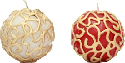 Tvish Candles Decorative Ball Candle (Red, White, Pack Of 2)