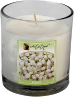 Artistique 7 Oz Clear Cup Jasmine Fragrance Jar Candle (White, Pack Of 1)