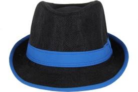 Sushito Solid Black Stylish Fedora Cap