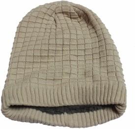 Takeincart Solid Woolen Light Brown Squares Cap