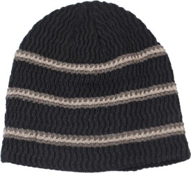 Bonjour Black Striped Striped Skull Cap