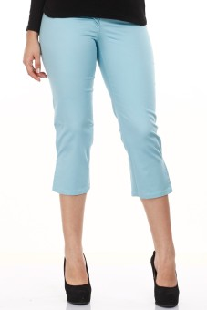 Mustard Sky Blue Cotton Lycra Women's Capri