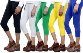 IndiStar Women's Black, White, Green, Yellow, Blue Capri