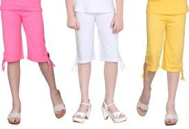 Sinimini Girl's Pink, White, Yellow Capri