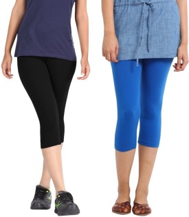 Rooliums Super Fine Cotton Capri Leggings Women's Black, Light Blue Capri