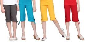 Sinimini Girl's Grey, Blue, Yellow, Red Capri
