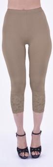 SHYIE Lycra Skin Fawn Women's Premium Quality Plain Lace Women's Beige Capri