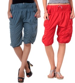 TeeMoods Duo-Wrinkled Women's Grey, Red Capri