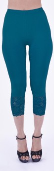 SHYIE Lycra Indigo Blue Women's Premium Quality Plain Lace Women's Blue Capri