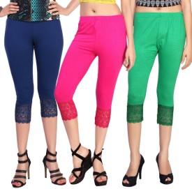 Comix Women's Dark Blue, Pink, Green Capri