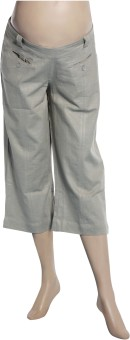 Uzazi Maternity Low Waist Women's Reversible Linen Capri - CPIE7RHXWRSY4TSP