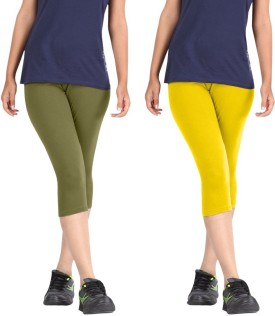 Rooliums Super Fine Cotton Capri Leggings Women's Light Green, Yellow Capri
