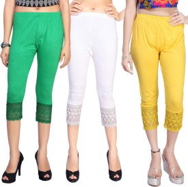 Comix Women's Green, White, Yellow Capri