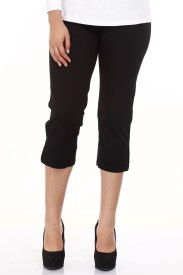 Mustard Black Cotton Lycra Women's Capri