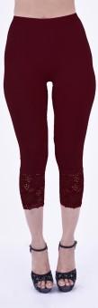 SHYIE Lycra Garnet Maroon Women's Premium Quality Plain Lace Women's Maroon Capri