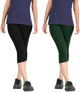 Rooliums Super Fine Cotton Capri Leggings Women's Black, Dark Green Capri