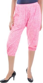 Apple Knitt Wear Pink Cotton Printed Harem 3/4 Women's Capri