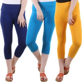Fasha Women's Blue, Light Blue, Yellow Capri