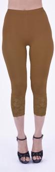 SHYIE Lycra Hazelnut Beige Women's Premium Quality Plain Lace Women's Beige Capri